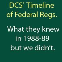 Damascus Citizens' Timeline of Federal Regulations. What  they knew in 1988-1989.